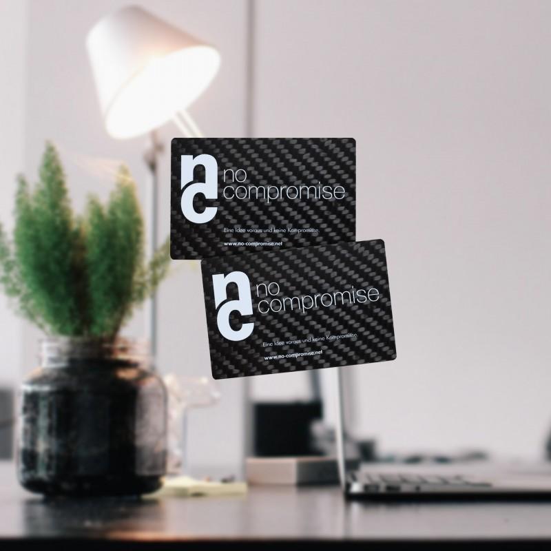 Carbon Visitenkarten, echtes Carbon mit Aufdruck in 4 Farben