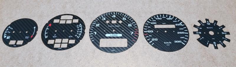 Ziffernblätter aus Carbon - Porsche - gefräst und bedruckt
