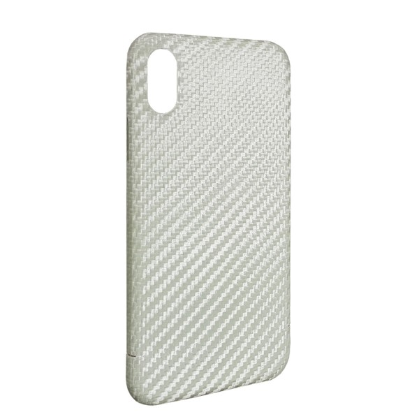 Echt Carbon Cover Apple iPhone Xs Perlmutt Weiss